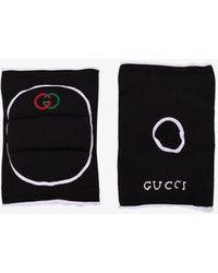 Gucci Black Logo Embroidered Knee Pads