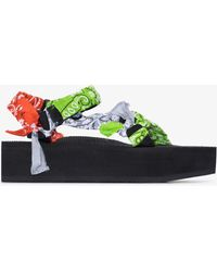 ARIZONA LOVE Green Trekky Bandana Platform Sandals - Black