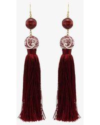 Rosantica Optic Tassel Bead Drop Earrings - Red