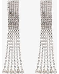 Alessandra Rich - Silver Rectangular Crystal Drop Earrings - Lyst
