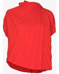 A.W.A.K.E. MODE Asymmetric Pleated Top - Red