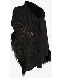 Simone Rocha - Faux Fur Trim Wool Blend Wrap Cardigan Scarf - Lyst