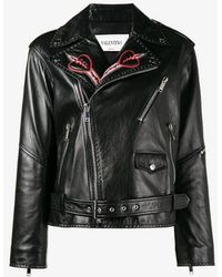 Valentino - Love Blade Embroidered Leather Jacket - Lyst