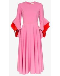ROKSANDA Flutter Sleeve Midi Dress - Pink