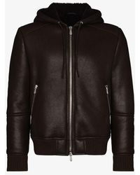 Eleventy Hooded Shearling Leather Jacket - Brown