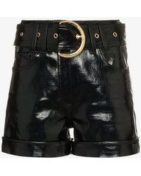 Balmain - High Waisted Belted Faux Patent Leather Shorts - Lyst