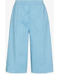 JOSEPH Long Pleated Shorts - Blue