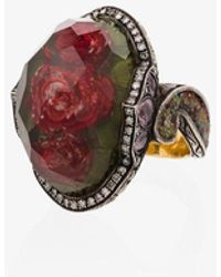 Sevan Biçakci 24k Rose Quartz Diamond Sapphire Cocktail Ring - Multicolour
