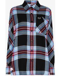 Charles Jeffrey LOVERBOY X Fred Perry Tartan Overshirt - Black