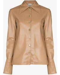 A.W.A.K.E. MODE Faux Leather Shirt - Brown