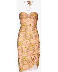 Adriana Degreas Seashell Ruched Mini Dress - Pink