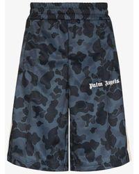 Palm Angels Night Camouflage Print Track Shorts - Black