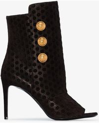 Balmain Oslo 105 Leather Stiletto Boots - Black