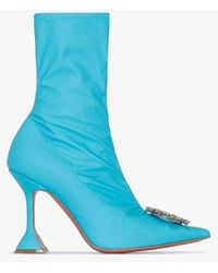 AMINA MUADDI Begum 95mm Embellished Detail Boots - Blue