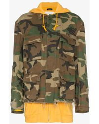 R13 - Camouflage Hooded Cotton Jacket - Lyst