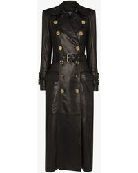 Balmain Double-breasted Leather Coat - Black