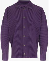 Issey Miyake Pleated Shirt Jacket - Purple