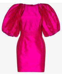 Ronald Van Der Kemp - Volume Sleeve Silk Mini Dress - Lyst