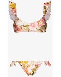 Zimmermann Bonita Ruffled Floral-print Bikini Set - Brown