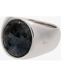 Tom Wood Mens 108 - Multicoloured Sterling Silver And Opal Oval Larvikite Ring
