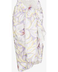 Racil Piscine Printed Sarong Midi Skirt - White