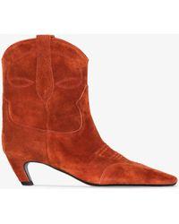 Khaite Dallas 65 Leather Ankle Boots - Brown