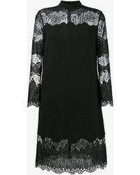 Huishan Zhang Lace Insert Long Sleeve Dress - Black