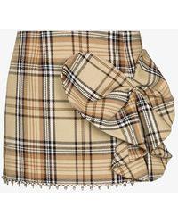 Area Heart Bow Checked Mini Skirt - Multicolour