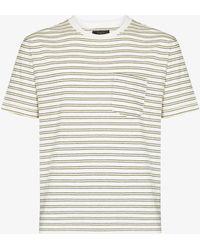 Beams Plus Striped Cotton T-shirt - White
