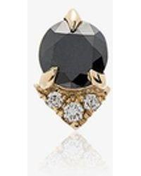 Lizzie Mandler Spike Stud Black Diamond And Diamond 18k Yellow Gold Single Earring - Metallic