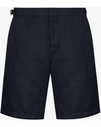 Orlebar Brown Norwich Linen Bermuda Shorts - Blue