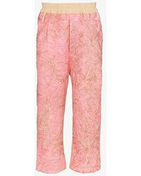 By Walid Gerald Crêpe Embroidered Trousers - Pink