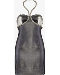 Area Crystal Trim Halterneck Mini Dress - Metallic