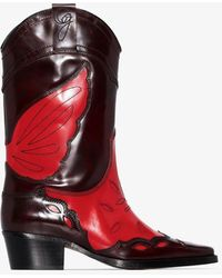 Ganni High Texas Boots - Red