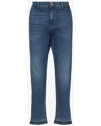 Gucci Logo-embroidered Cropped Jeans - Blue
