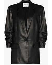FRAME X Imaan Darted Single-breasted Leather Blazer - Black