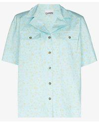 Ganni Micro Floral Print Organic Cotton Shirt - Blue