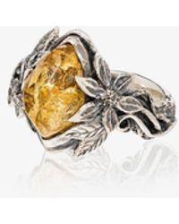 Lyly Erlandsson Sterling Leaf Stone Ring - Metallic