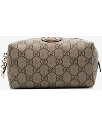 Gucci Beige Ophidia GG Cosmetic Case - Metallic