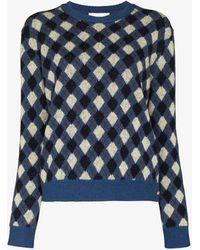 Wales Bonner Williams Argyle Wool Sweater - Blue