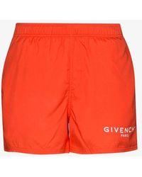 Givenchy Logo Drawstring Swim Shorts - Orange