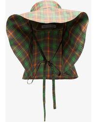 Rejina Pyo Daisy Check Linen Hat - Green