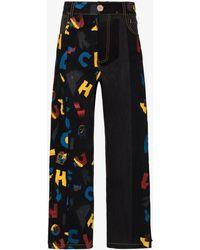 BETHANY WILLIAMS Aoc Print Wide Leg Jeans - Black