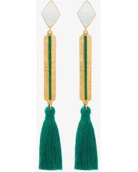 Marte Frisnes - Gold Metallic And Green Izzy Sterling Silver Tassel Drop Earrings - Lyst