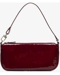 BY FAR Burgundy Rachel Patent Leather Shoulder Bag - Red