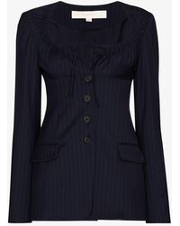 By Any Other Name Tie Neck Pinstripe Wool Blazer - Blue