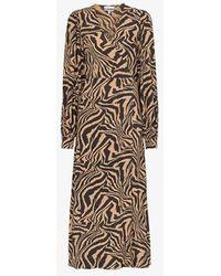 Ganni Zebra Print Midi Wrap Dress - Brown