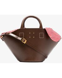 Trademark - Brown Small Leather Basket Gingham Bag - Lyst