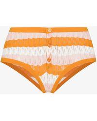 Dodo Bar Or Sissy Striped Pointelle Briefs - Orange