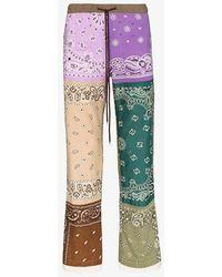 Children of the discordance Bandana Patch Print Trousers - Purple
